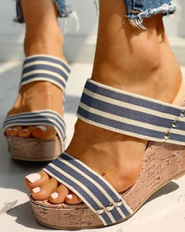Overlap Wide Strap Wedge Sandals