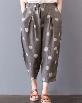 Polka Dot Printed Elastic Waist Pockets Trousers Pants