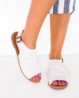 Ruched Mules – Ankle Straps and Buckles