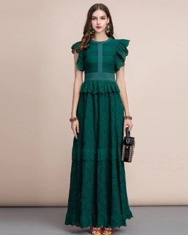 Ruffles Sleeve Front Self Belted Cotton Formal Party Dresses