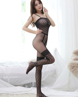 Sexy Bodystocking Crotchless Stretchy Quilted Sheer Lingerie