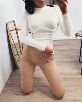 Sexy High Waist Zipper Skinny Pants