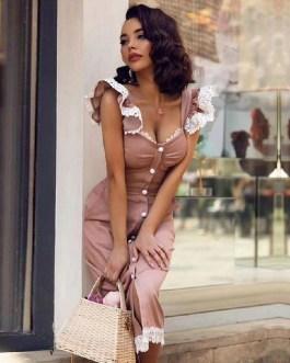 Sexy Spaghetti Strap Lace Button Sleeveless Knee Length Dress