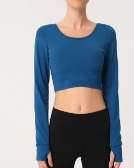 Solid Breathable Long Sleeve Yoga T Shirt With Breast Pad