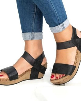 Strappy Wedge Sandals – Open Toes