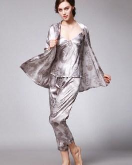 Three Piece Nightwear Silk Like Dragon Printed Lingerie