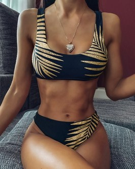 Tropical Foliage Printed Scoop Neck Two Piece Swimsuit