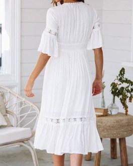 V Neck Cut Out Lace Cotton Maxi Dresses