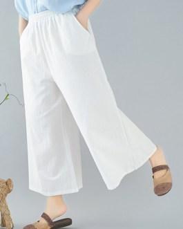 Wide Leg Solid Color Elastic Waist Trouser Pants