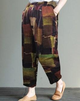 Wide-Legged Elastic Waist Geometric Print Trousers
