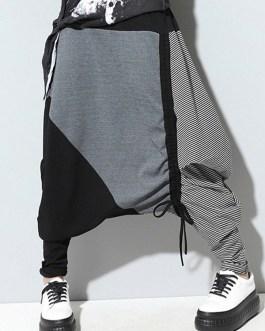 Casual Drop-Crotch Patchwork Harem Pants