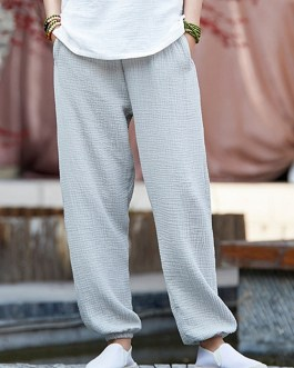 Casual Elastic Waist Linen Solid Cotton Pants