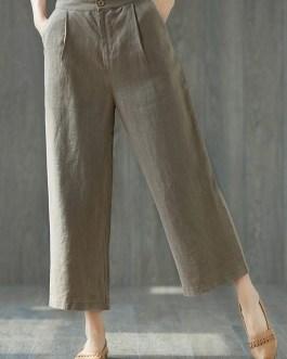 Casual High Waist Wide Leg Pants