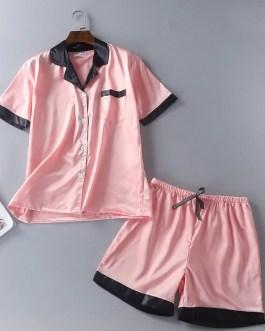 Casual Satin Faux Silk Shorts Nightwear Set