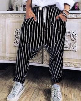 Casual Striped Elastic Waist Trouser Pants