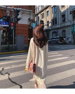 Casual V-Neck Loose Elegant Sweater Dress