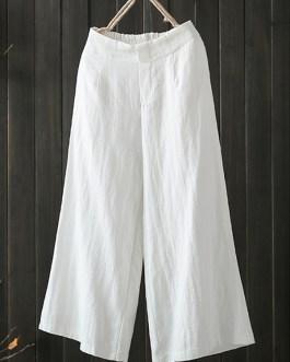 Elastic Waist Loose Cotton Wide Leg Pant with Pocket