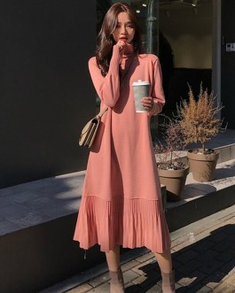 Elegant Loose A-line Ruffles Knitted Pullover Vestidos Sweater Dress