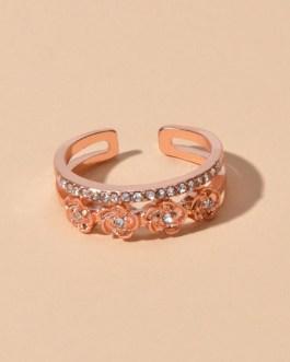 Engagement Rings Rose Rhinestone Decor Open Cuff Finger Jewelry