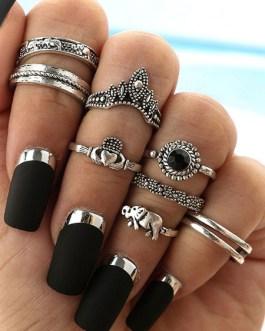 Ethnic Finger Ring Embossed 8 Piece Ring Set