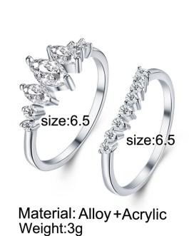 Geometric Design Cubic Zirconia Rings Set