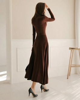 Lace Up Slim Waist Solid Knitted Pullover Sweater Dress