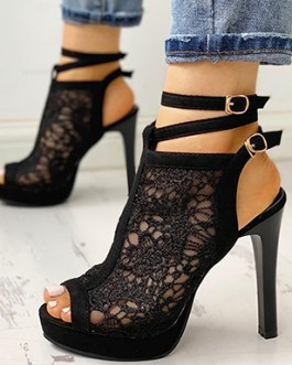 Lacy Platform Heels – Ankle Straps