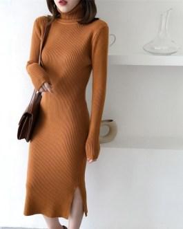 Long Sleeve Casual Long Turtleneck Sweater Dress