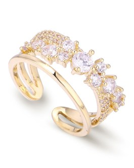 Open Gold Cubic Zirconia Copper Party Ring
