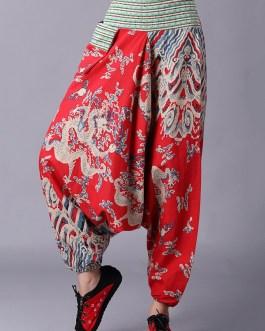 Retro Folk Style Printed Elastic Waist Pants