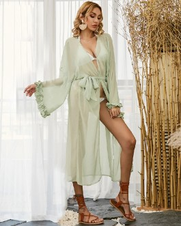 Sexy Deep V-neck Lace Up Loose Casual Long Beach Dress