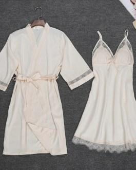 Sexy Robe Lace Gown Nightdress 2 PCS