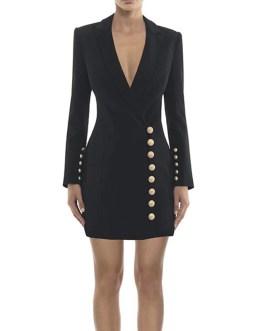Solid Color Single Button Blazer Dresses