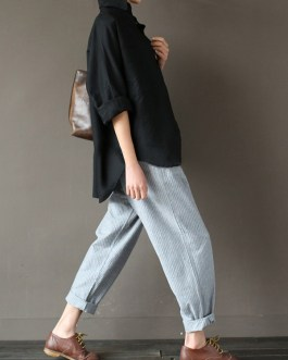 Stripe Elastic Waist Pockets Loose Pants