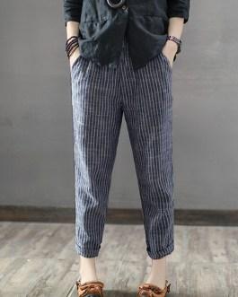 Striped High Elastic Waist Long Harem Pants