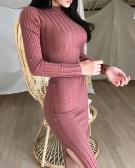 Vintage Stand Collar Slim Waist Bodycon Sweater Dress