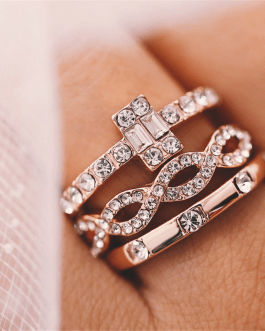 Crystal Twist Ring Couples Engagement Wedding Jewelry