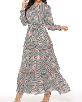 Embellished Collar Long Sleeves Stripes Tiered Long Maxi Dress