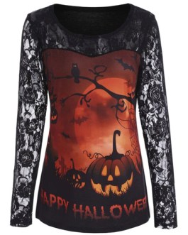 Halloween Tees Printed Lace Jewel Neck Polyester Shirt