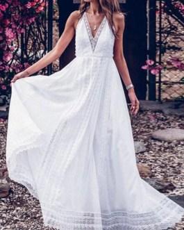 Halter Sleeveless Lace Backless Long Dress