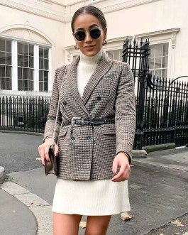 Long Sleeve Double Breasted Office Plaid Blazer
