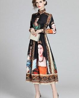 Long Sleeve Gorgeous Painting Queen Print A Line Elegant Dress