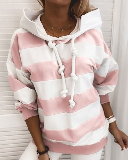 Long Sleeves Stripes Polyester Cotton Hooded Sweatshirt