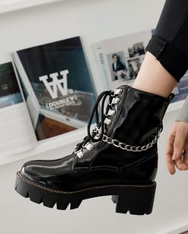 PU Leather Round Toe Chains Chunky Heel Booties Ankle Boots