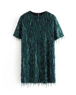 Patchwork O Neck Sequins Short Sleeve Mini Dress