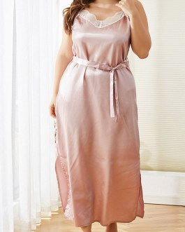 Plus Size Sleepwear Polyester Straps Neck Sleeveless Lace Split Pajama