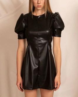 Puff Short Sleeve O Neck Pleated Bodycon Mini Dress