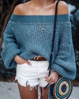 Pullovers Off The Shoulder Long Sleeves Short Sweaters