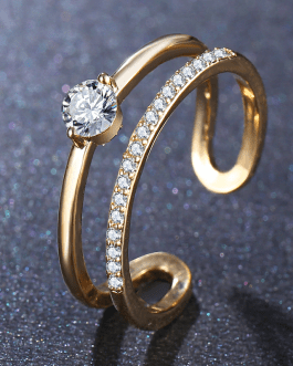 Round Crystal Ring Anel Party Statement Jewelry