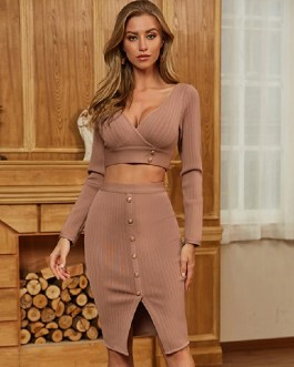 Sexy Hollow Out Long Sleeve Celebrity Party Bodycon Dress